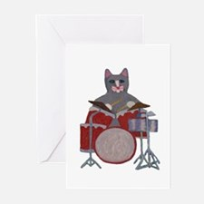Cat Drummer Greeting Cards (Pk of 10)