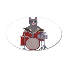 Cat Drummer Wall Decal