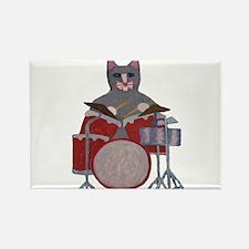 Cat Drummer Rectangle Magnet