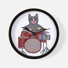 Cat Drummer Wall Clock