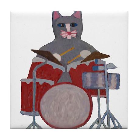 Cat Drummer Tile Coaster