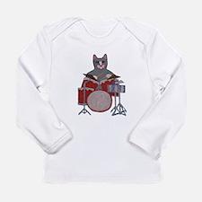 Cat Drummer Long Sleeve Infant T-Shirt