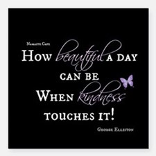 """Beautiful Day with Kindness Square Car Magnet 3"""" x"""
