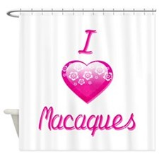 I Love/Heart Macaques Shower Curtain