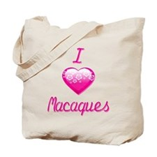 I Love/Heart Macaques Tote Bag