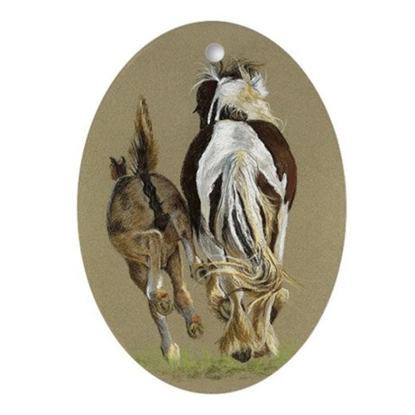 Running with Momma Gypsy Vanner Oval Ornament