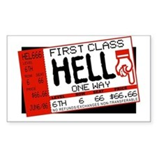 Ticket To Hell Rectangle Decal