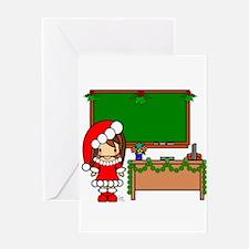 Cute Christmas teacher girl with garland Greeting