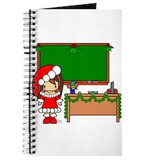 Cute Christmas teacher girl with garland Journal