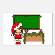 Cute Christmas teacher girl with garland Postcards