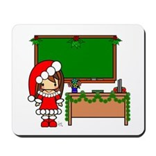 Cute Christmas teacher girl with garland Mousepad