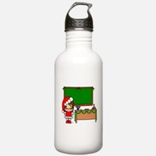 Cute Christmas teacher girl with garland Water Bottle