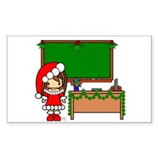 Cute Christmas teacher girl with garland Decal