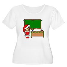 Cute Christmas teacher girl with garland T-Shirt