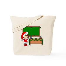 Cute Christmas teacher girl with garland Tote Bag