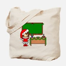 Cute Christmas teacher girl with garland Tote Bag