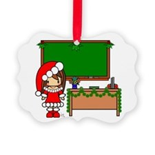 Cute Christmas teacher girl with garland Ornament