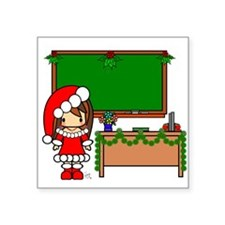 Cute Christmas teacher girl with garland Square St