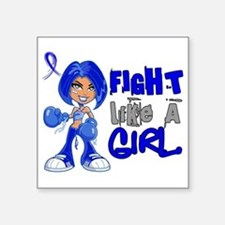 "Licensed Fight Like a Girl Square Sticker 3"" x 3"""