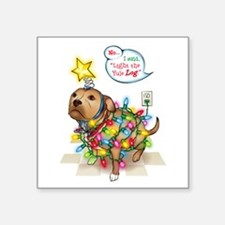 "Yule Dog Square Sticker 3"" x 3"""