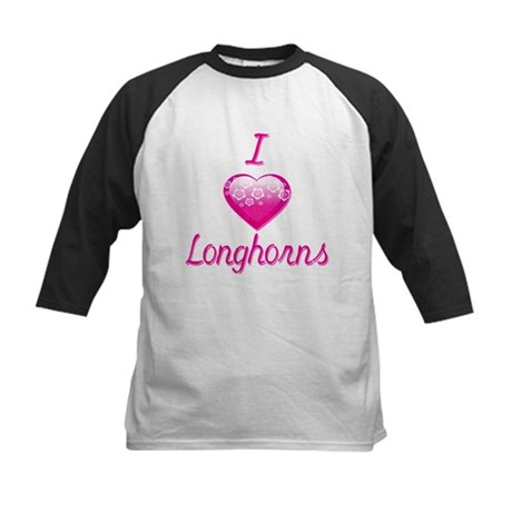 I Love/Heart Longhorns Kids Baseball Jersey