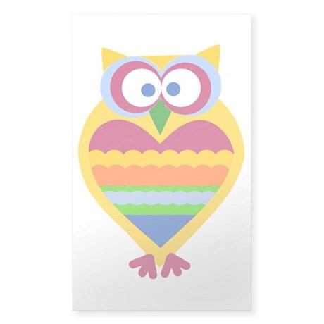 Colorful Owl Sticker (Rectangle)