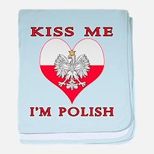 Kiss Me I'm Polish baby blanket