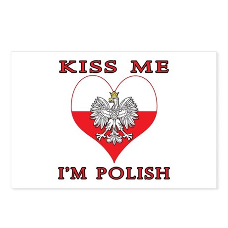 Kiss Me I'm Polish Postcards (Package of 8)