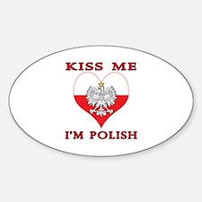 Kiss Me I'm Polish Sticker (Oval)