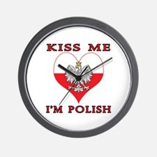 Kiss Me I'm Polish Wall Clock