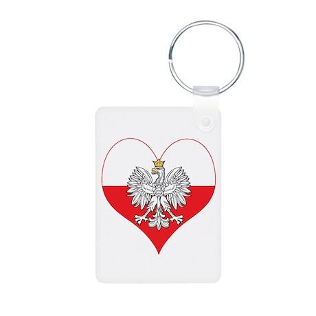 Polish Eagle Heart Aluminum Photo Keychain