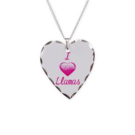 I Love/Heart Llamas Necklace Heart Charm