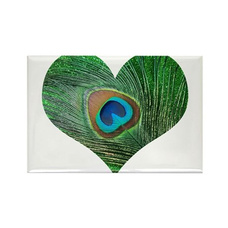 Sparkly Green Peacock Heart Rectangle Magnet