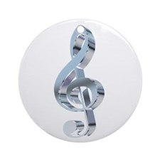 Silver Treble Clef Ornament (Round)