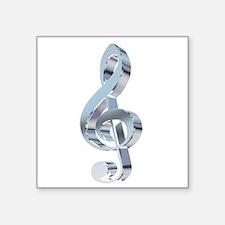 """Silver Treble Clef Square Sticker 3"""" x 3"""""""