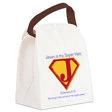 Jesus is my Super Hero Canvas Lunch Bag