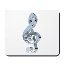 Silver Treble Clef Mousepad
