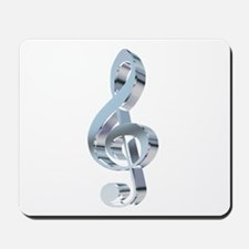 Silver Treble Clef Mousepad