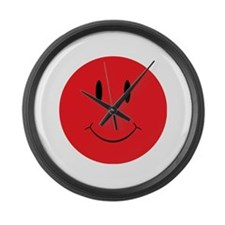 Red Happy Face Large Wall Clock