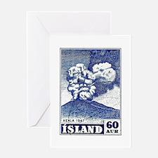 1948 Iceland Hekla Volcano Postage Stamp Greeting