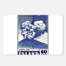 1948 Iceland Hekla Volcano Postage Stamp Postcards
