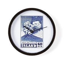 1948 Iceland Hekla Volcano Postage Stamp Wall Cloc