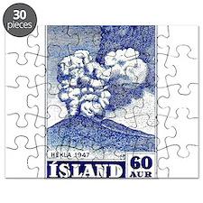 1948 Iceland Hekla Volcano Postage Stamp Puzzle