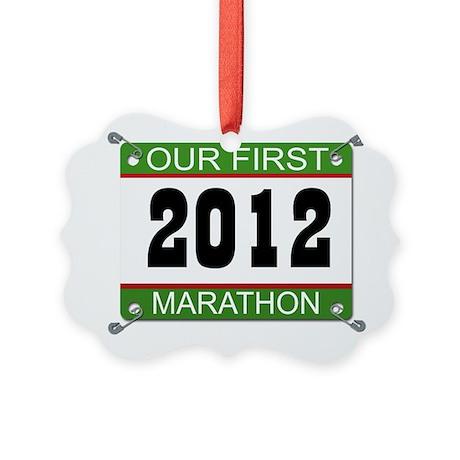 Our First Marathon Bib - 2012 Picture Ornament
