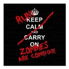 "run zombies Square Car Magnet 3"" x 3"""
