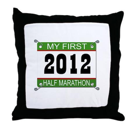 My First 1/2 Marathon Bib - 2012 Throw Pillow