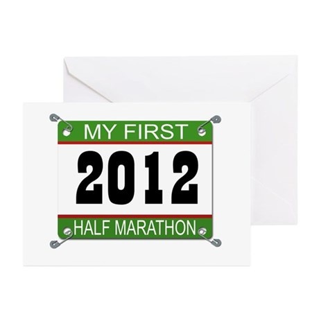 My First 1/2 Marathon Bib - 2012 Greeting Cards (P