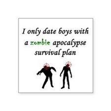 """Zombie Dating Square Sticker 3"""" x 3"""""""