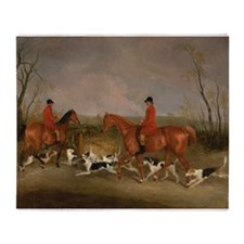 Hunters on Horses with Their Dogs Throw Blanket