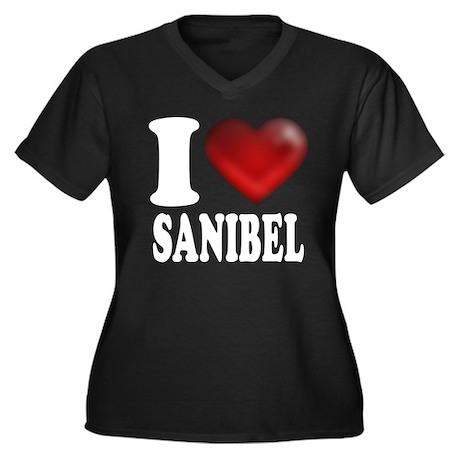 I Heart Sanibel Women's Plus Size V-Neck Dark T-Sh